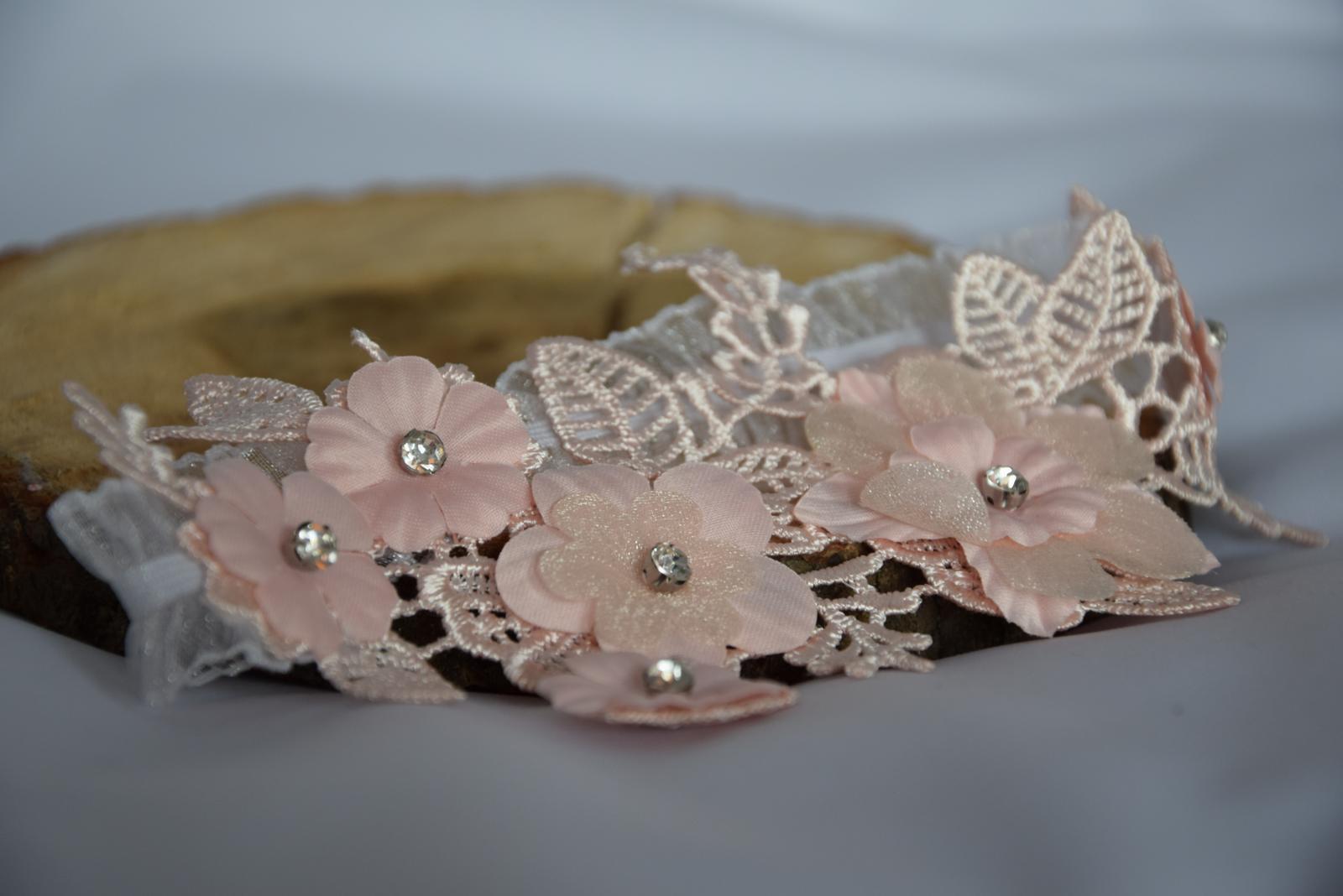 """Svadobný podväzok """"Pink flowers"""" - Obrázok č. 1"""