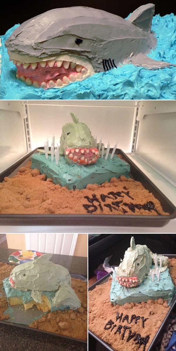 Veď aj SNAHA sa cení! - torta v tvare žraloka