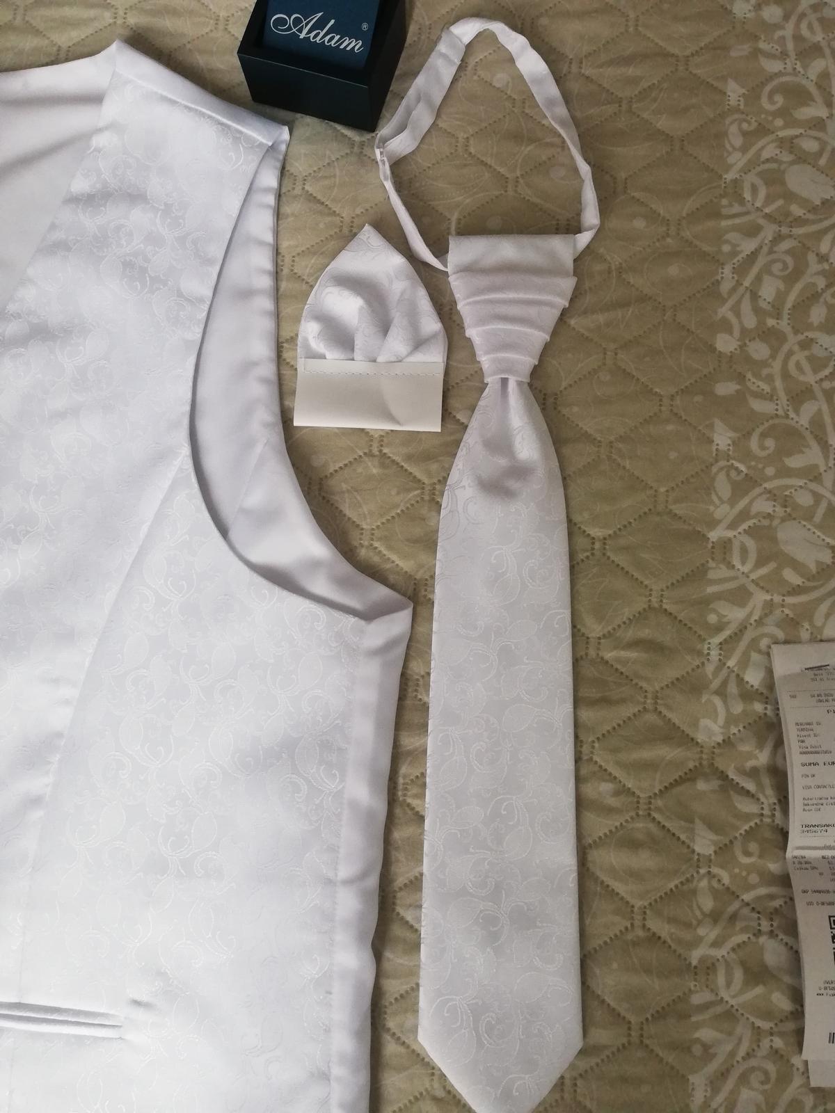 Pánska vesta Adam biela 56+ kravata+ vreckovka do saka - Obrázok č. 1