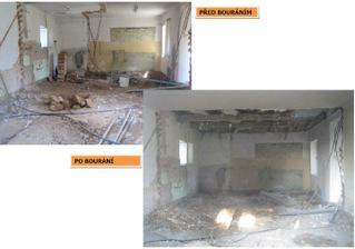 Bordýlek před a po :-) půlka stropu je dole - nesnáším rákos!