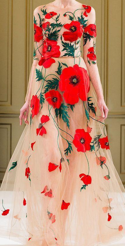 Vlčie maky sú teraz všade, dokonca aj na svadobných šatách! :) - Obrázok č. 1