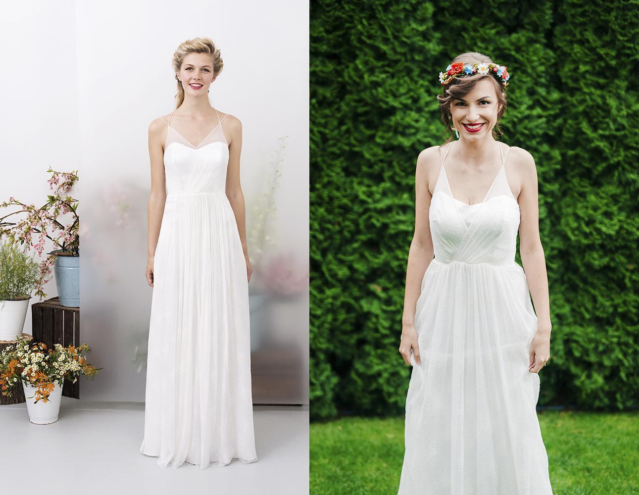 Svadobné šaty na modelke a na reálnej neveste - Nevesta @veronika933 a jej svadobné šaty značky kisui Oui Collection model Enny zo salónu Salón LuluAnna