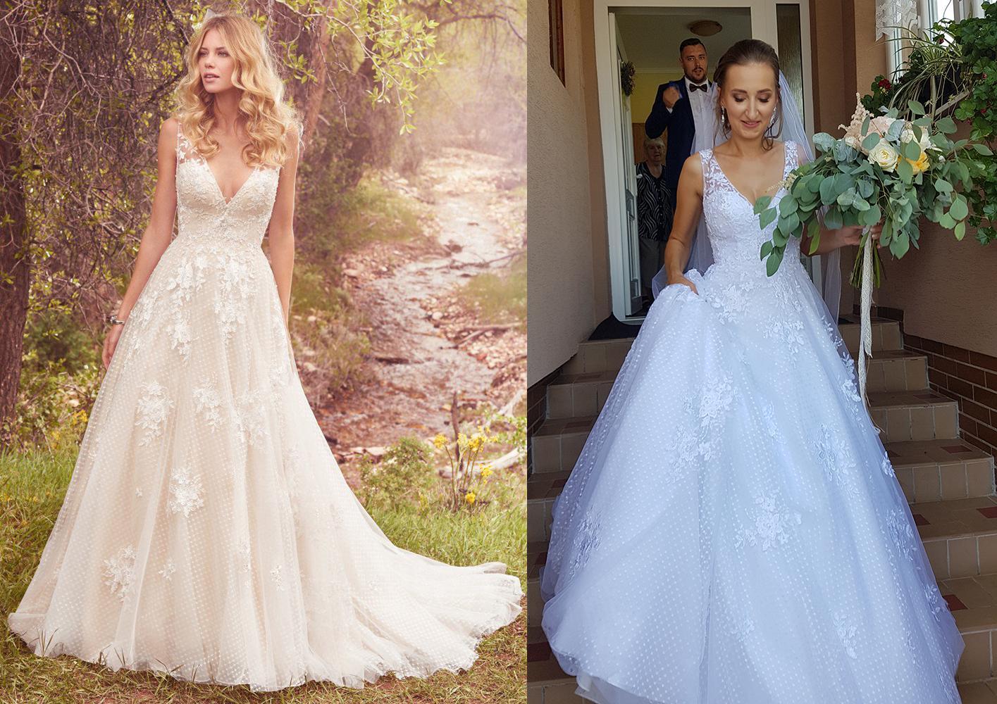 Svadobné šaty na modelke a na reálnej neveste - Nevesta @stanka_t a jej svadobné šaty Maggie Sottero Meryl zo Salónu El v Bratislave.