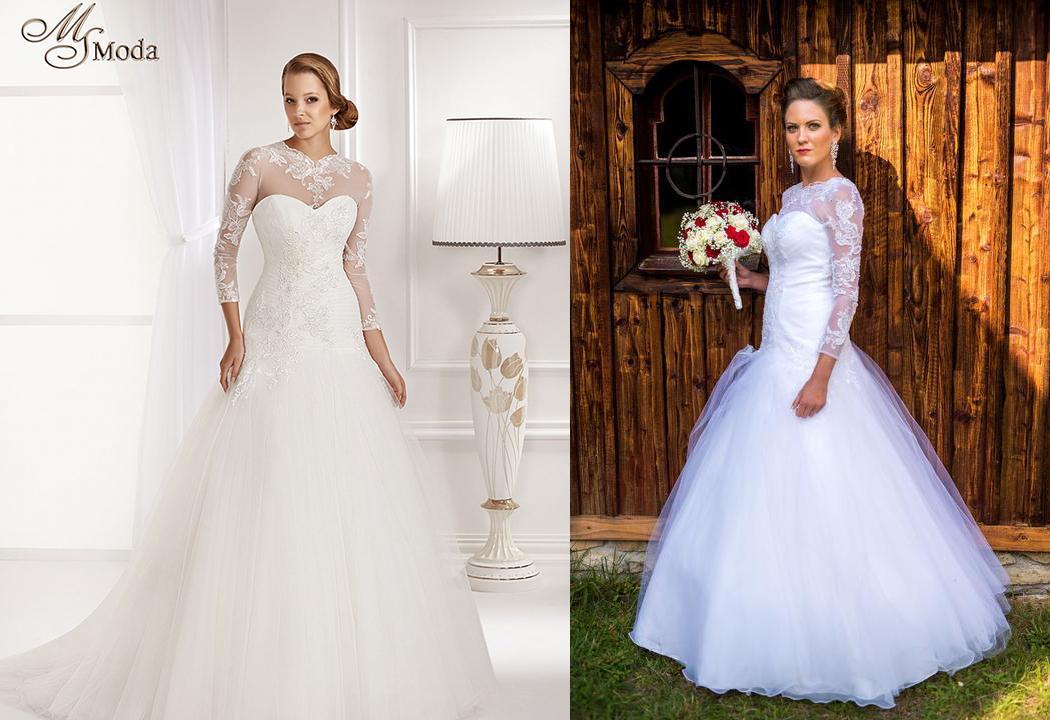 Svadobné šaty na modelke a na reálnej neveste - Nevesta @martinamagyarova a jej svadobné šaty BRITNEY WHITE GOWN zo salónu Sissi v Košiciach.
