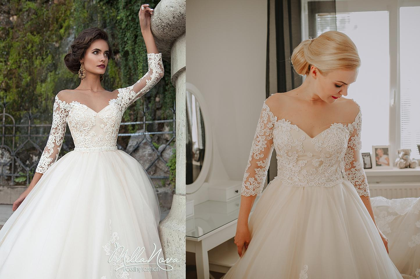 Svadobné šaty na modelke a na reálnej neveste - Nevesta @viky91 a jej svadobné šaty Milla Nova, model Diona zo salónu Wedding Avenue.