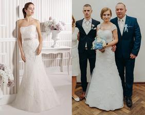 Nevesta @dena2905 a jej svadobné šaty Luna Novias, gruppo Rosa Clara, typ Leonor. Deniska si ich dávala ešte upraviť - dala si našiť čipkované ramienka a kamienkový opasok.