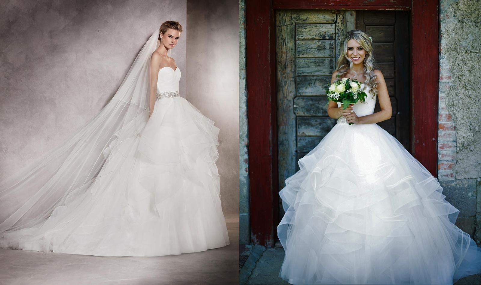 Svadobné šaty na modelke a na reálnej neveste - Nevesta @karina07 a jej svadobné šaty Pronovias Albania 2017 zo Salónu Nicole v Bratislave.
