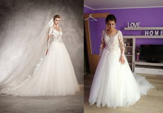Nevesta @deniky a jej svadobné šaty Pronovias Arlene zo Svadobného salónu Jadei.