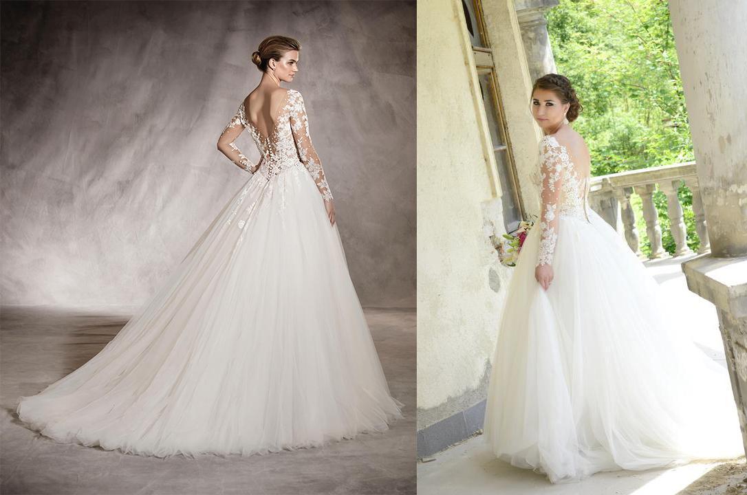 Svadobné šaty na modelke a na reálnej neveste - Nevesta @deniky a jej svadobné šaty Pronovias Arlene zo Svadobného salónu Jadei.