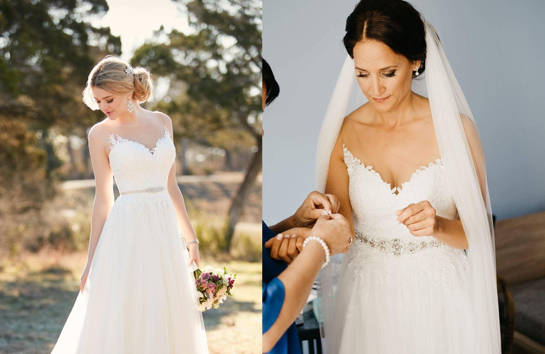 Svadobné šaty na modelke a na reálnej neveste - Nevesta @dancula12 a jej svadobné šaty kúpené z Essense of Australia, model D2085.