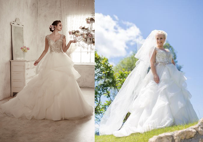 Svadobné šaty na modelke a na reálnej neveste - Nevesta @123choco123 a jej svadobné šaty Christine WU zo salónu Famme Fatale v Liptovskom Mikuláši.