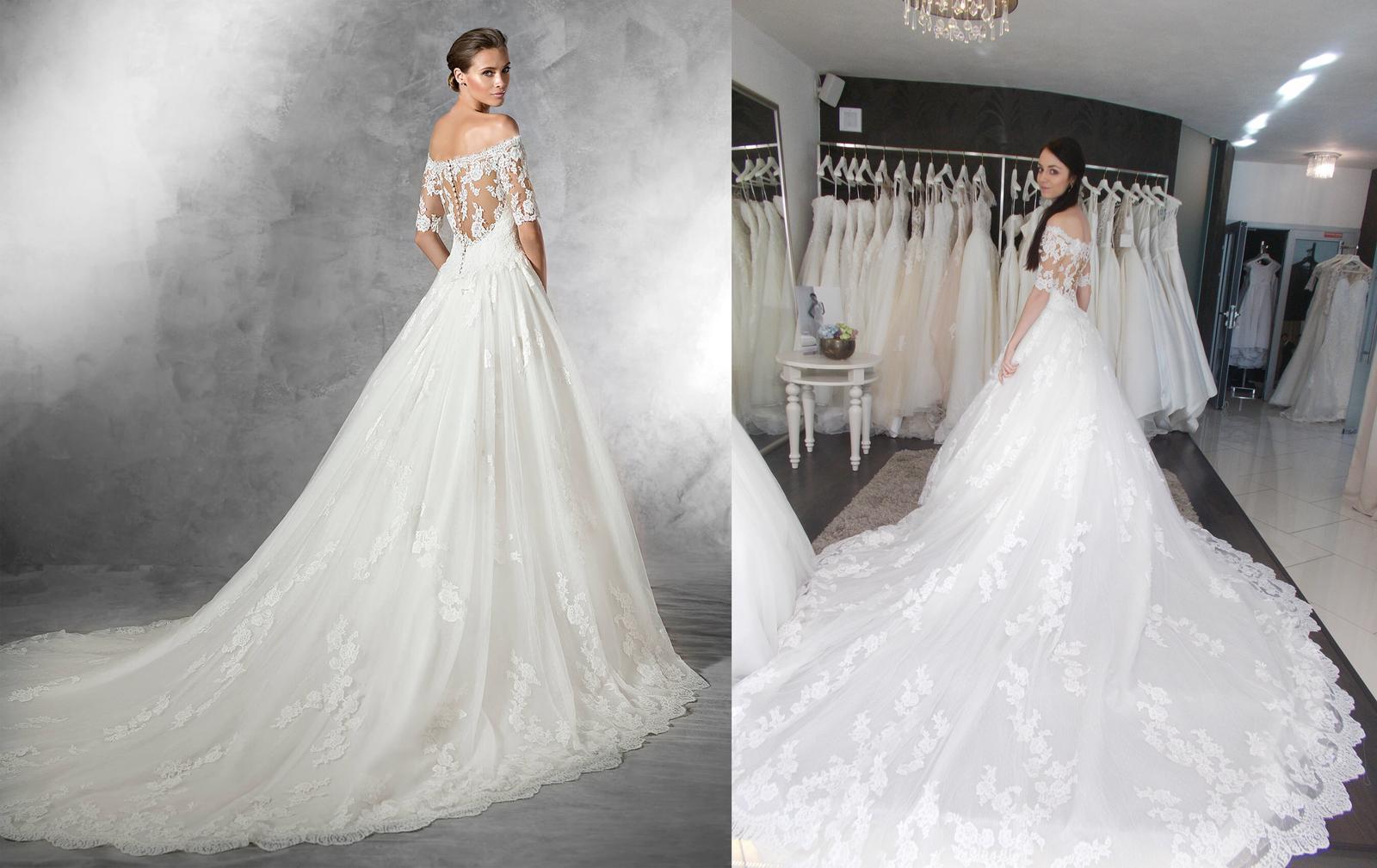Svadobné šaty na modelke a na reálnej neveste - Nevesta @michaela300917 a jej svadobné šaty Pronovias Pleasant zo salónu Nicole v Nitre.