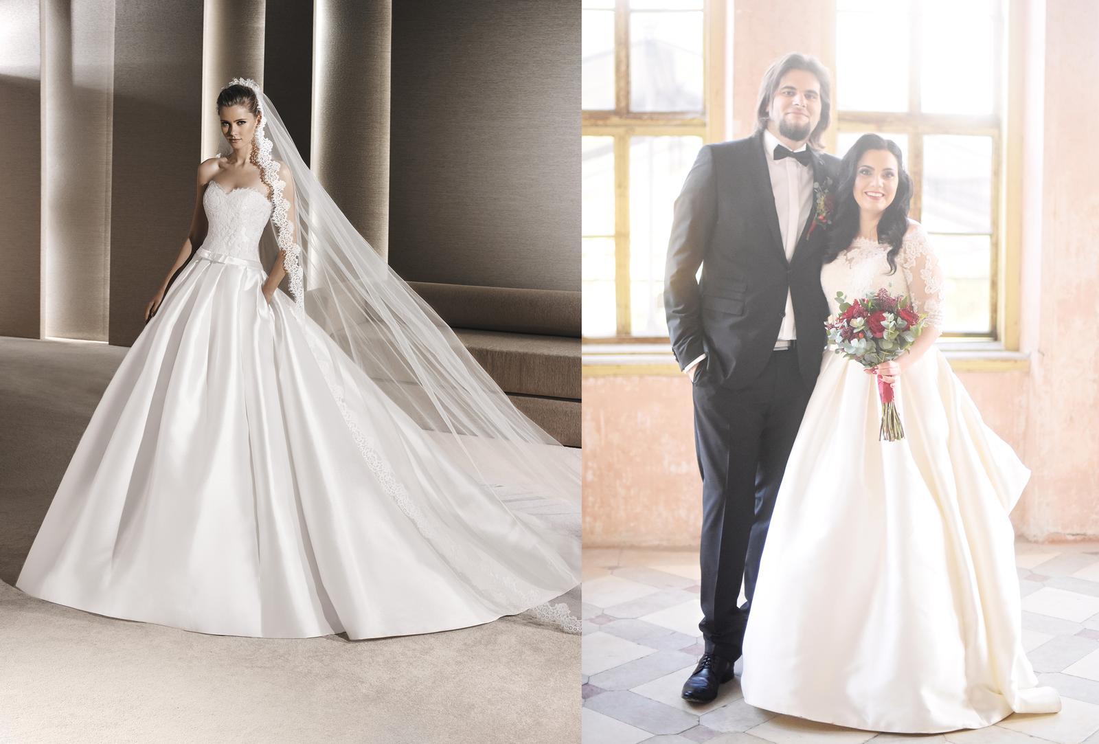Svadobné šaty na modelke a na reálnej neveste - Krásna nevesta @levandullka a jej svadobné šaty La Sposa model Ruperta zo salónu WEM v Bratislave.