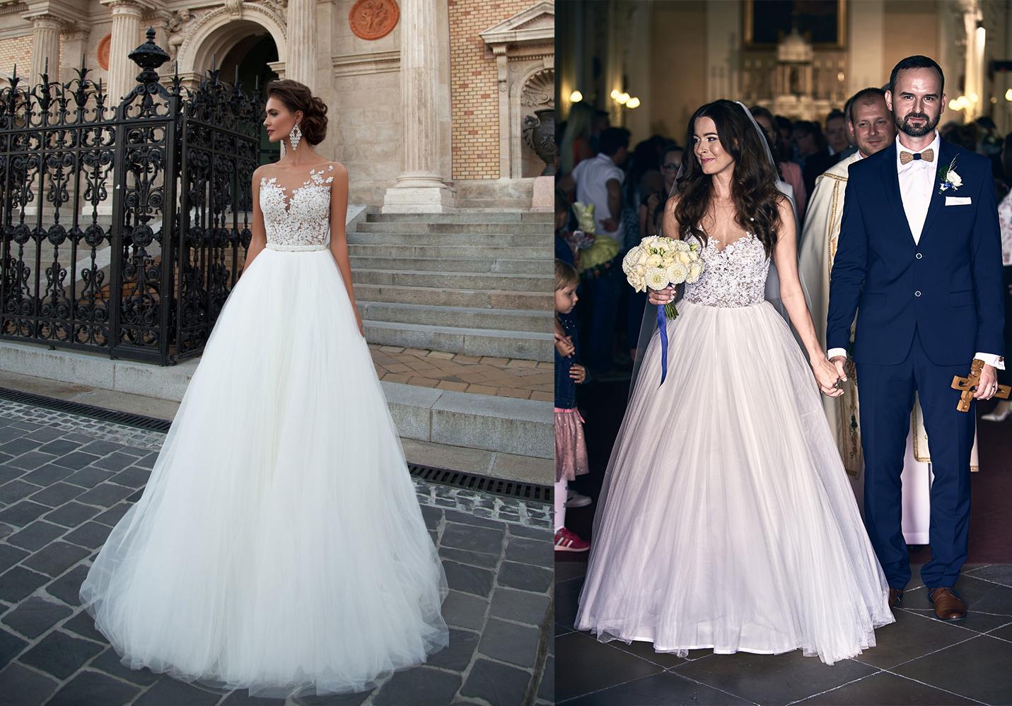 Svadobné šaty na modelke a na reálnej neveste - Nádherná nevesta @bozenag a jej svadobné šaty Milla Nova model Chelsi zo salónu Wedding Avenue v Bratislave.