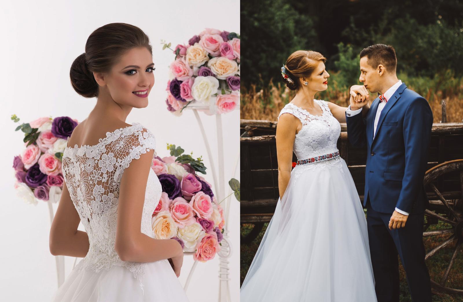 Svadobné šaty na modelke a na reálnej neveste - Nevesta @lucynkaa9 a jej svadobné šaty značky Hadassa, model Lany zo svadobné salónu EvaMária v Seredi.