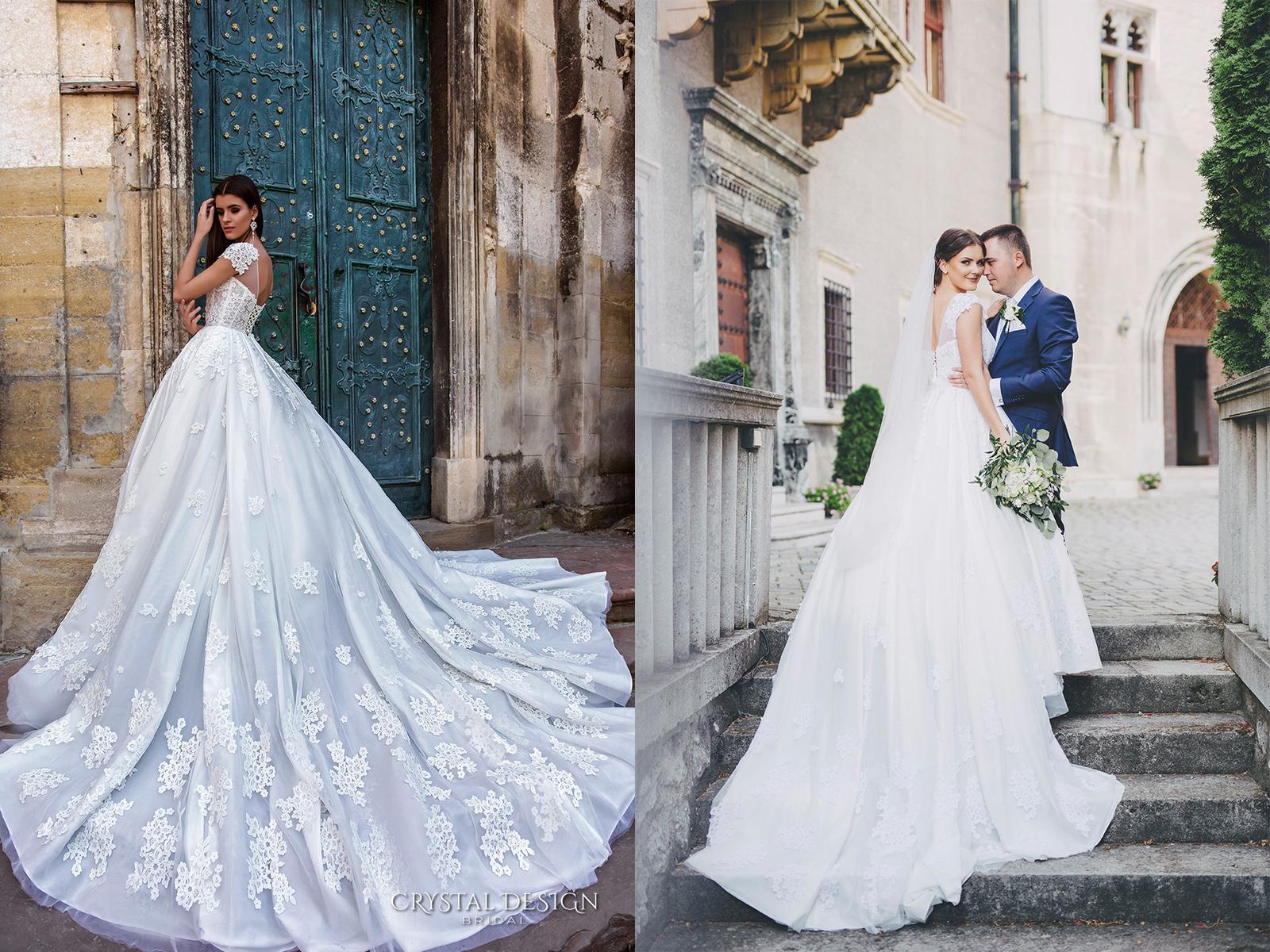 Svadobné šaty na modelke a na reálnej neveste - Nevesta @tani_s a jej svadobné šaty Crystal Design model Ermesso zo svadobného salónu SOIRÉE v Nitre.