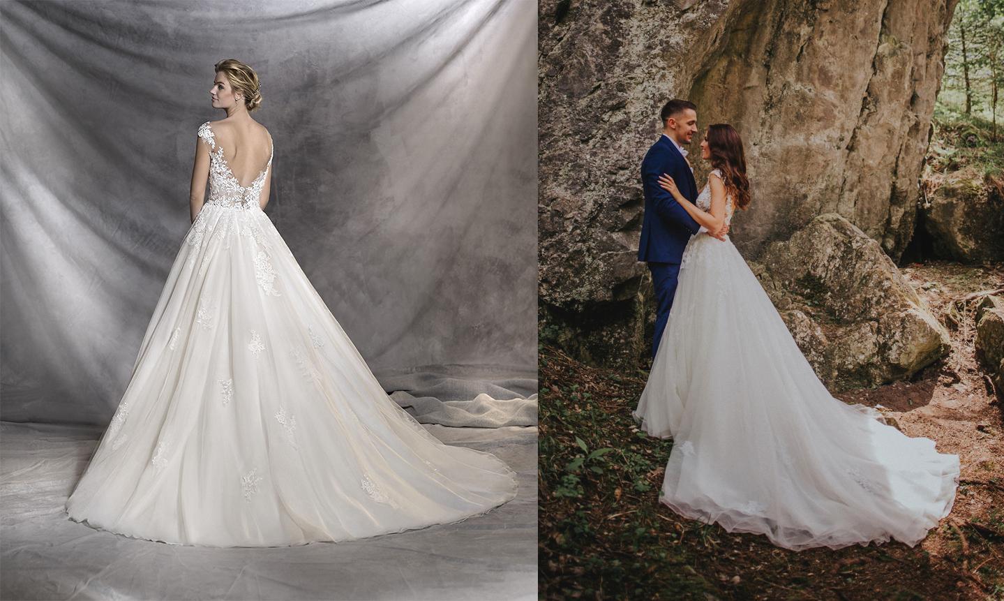 Svadobné šaty na modelke a na reálnej neveste - Nevesta @pepsinka146 a jej svadobné šaty Pronovias Ofelia zo svadobného salónu Jadei.