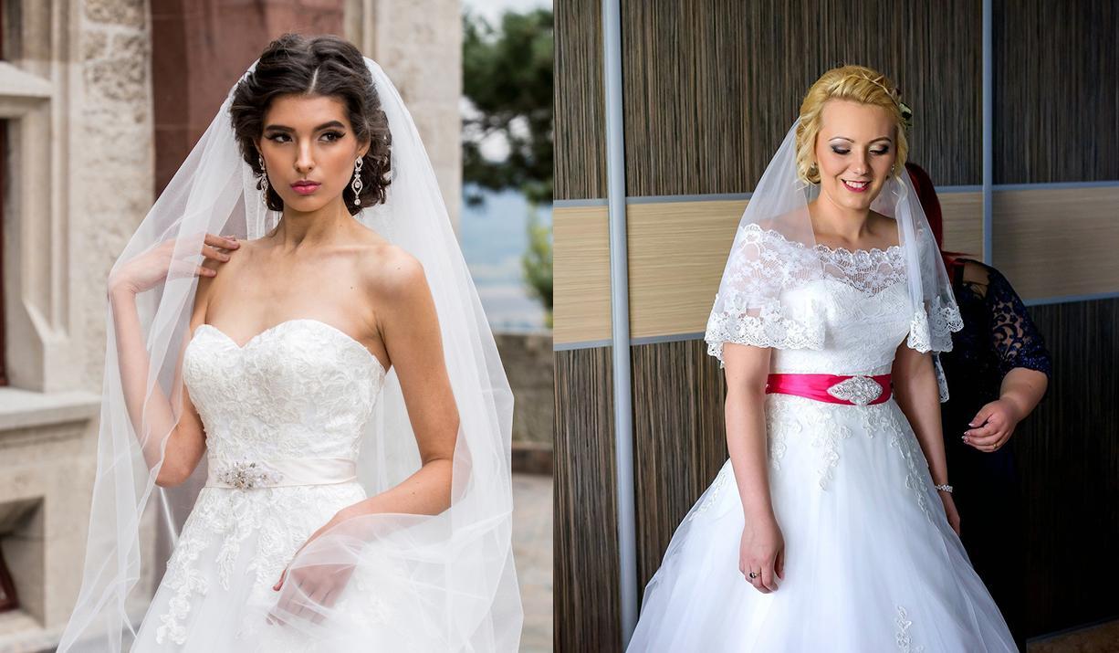 Svadobné šaty na modelke a na reálnej neveste - Nevesta @jajkaaa87 a jej svadobné šaty Domenico Rossi model Monica zo svadobného salónu Bonnet.