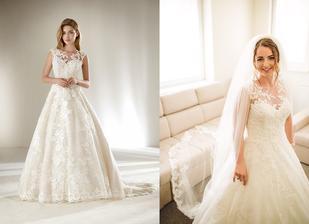 Nevesta @nikushqa_rk a jej svadobné šaty Pronovias Dracme zo svadobného salónu Nicole Zvolen.