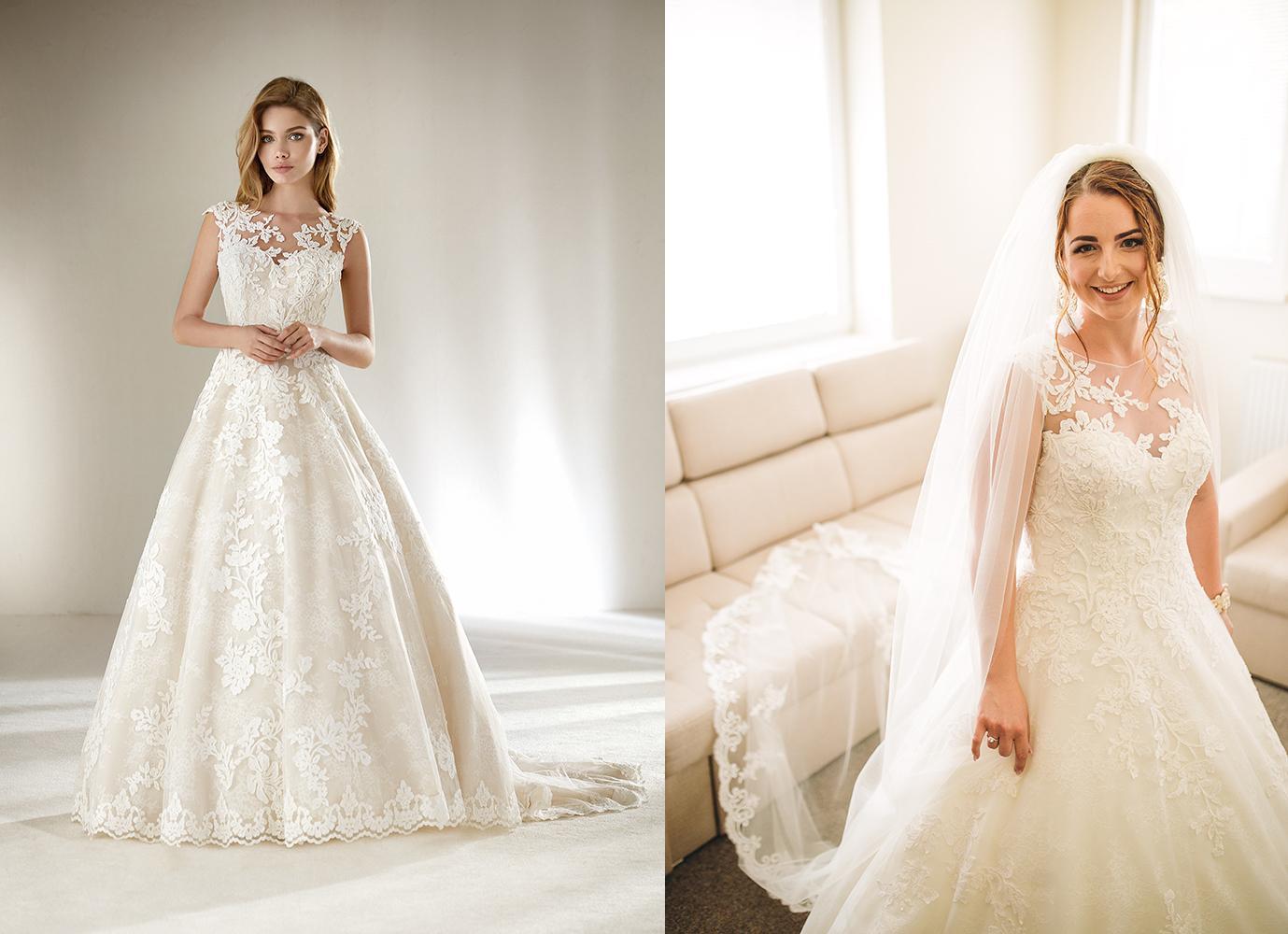 Svadobné šaty na modelke a na reálnej neveste - Nevesta @nikushqa_rk a jej svadobné šaty Pronovias Dracme zo svadobného salónu Nicole Zvolen.