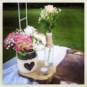 Vázy + svietnik + podložka,