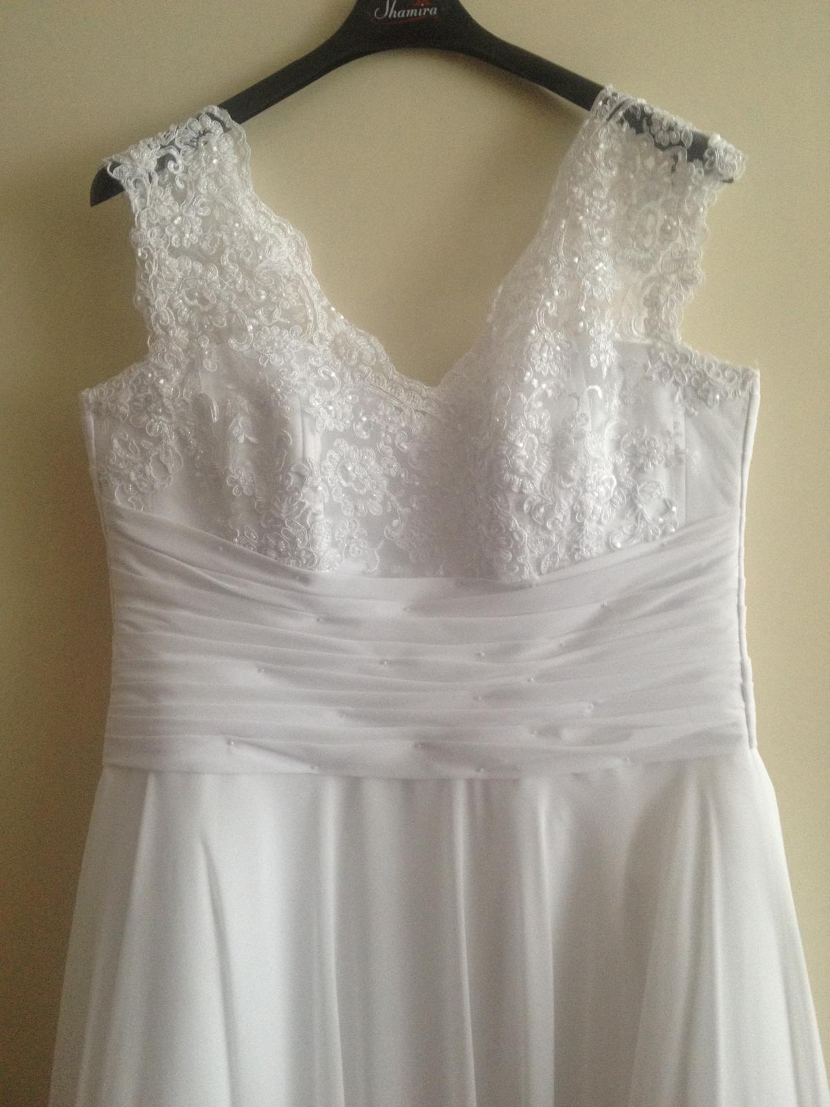 Biele svadobné šaty + bolerko a závoj - Obrázok č. 2