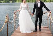 Lahke ivory svadobne saty so Swarovski kamienkami, 38