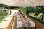 Svatební dekorace přírodní v barvě juta a růžová,