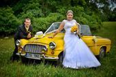 Dekorace na auta ženicha a nevěsty (žlutobílá),