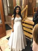 Romantické korzetové svadobné šaty z bielej čipky , 38
