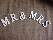 Dřevěný nápis Mr & Mrs, dřevěná písmenka,