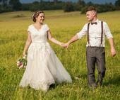Boho styl svatební šaty krajka, 42