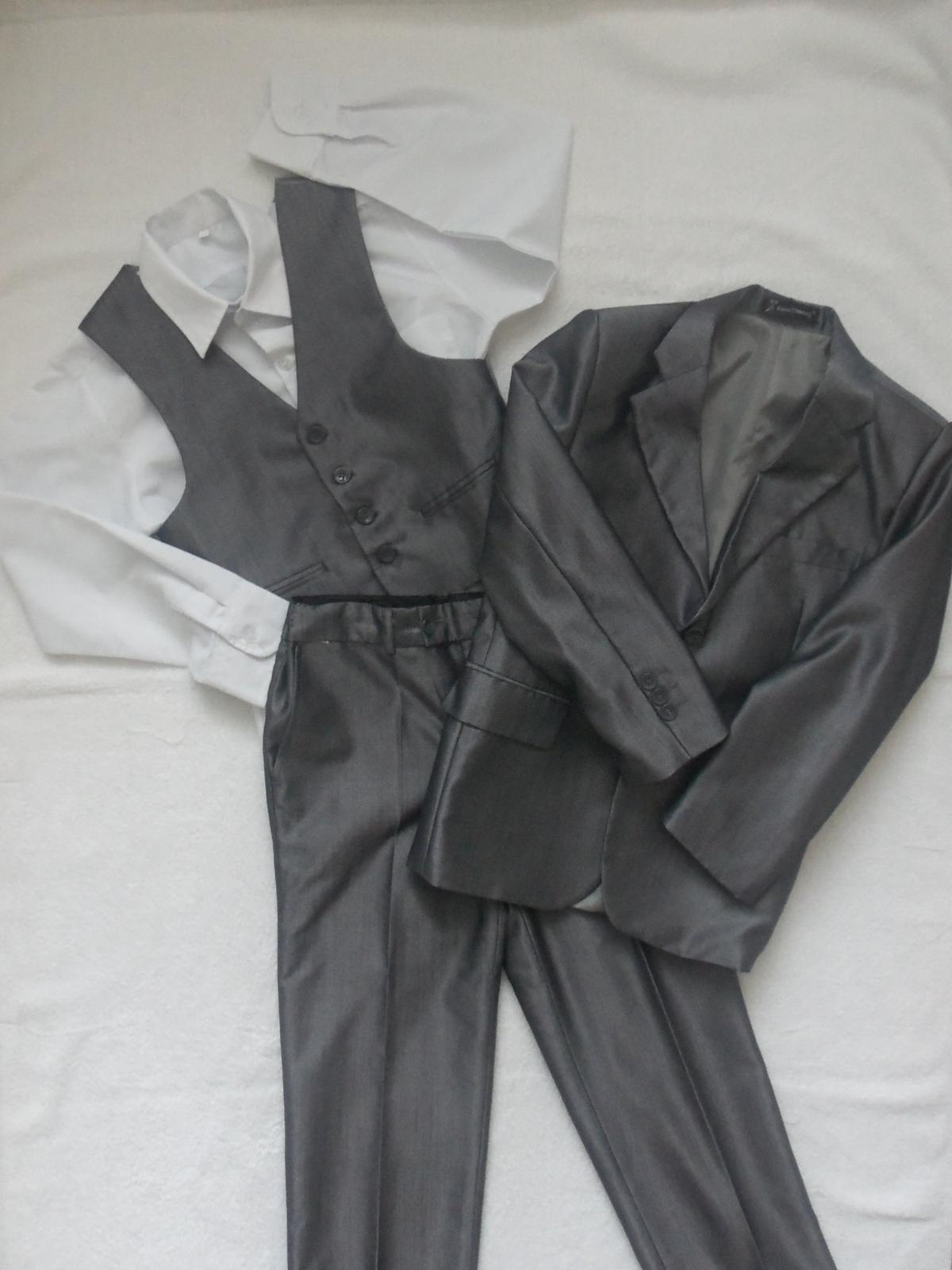 společenský oblek - kalhoty, sako, vesta a košile, vel. 134 - Obrázek č. 1