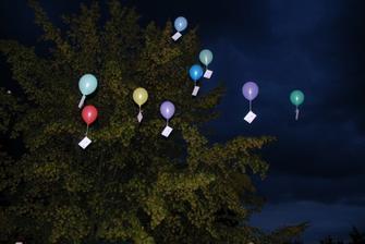 """odlétající balónky se """"svatebními dary"""""""