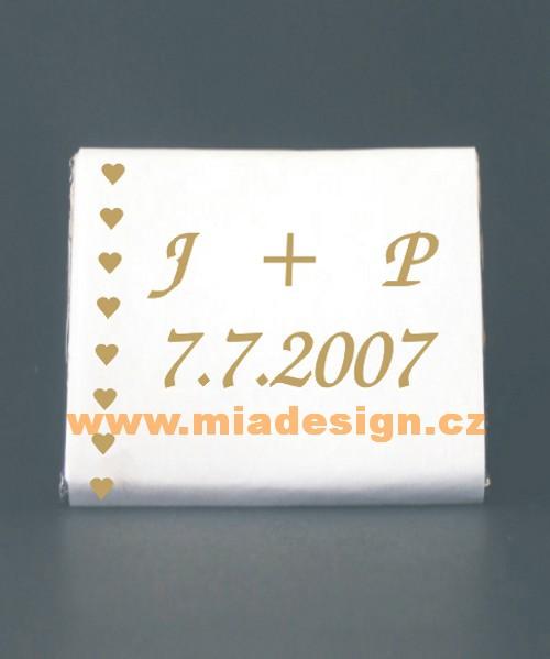G+M 18. 8. 2007 - naše iniciály a dátum, bude to namiesto dukátikov na stoloch