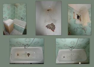 den 2 - naše libová koupelna... obzvlášť vana :o) nahoře zkouška nového umyvadla, detail vany a vana po vybroušení a vyplnění největších děr