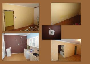 den 2 - po celém bytě demontovány vypínače a zásuvky a zadělávání děr k malování