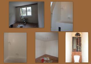 den 3 - začínáme malovat pokojíček, první nástřik (základová barva) koupelny a likvidace záchoda :o)