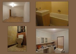 den 4 - poslední vrstva koupelny, škrabaní záchoda a malování obýváku  a kuchyně...