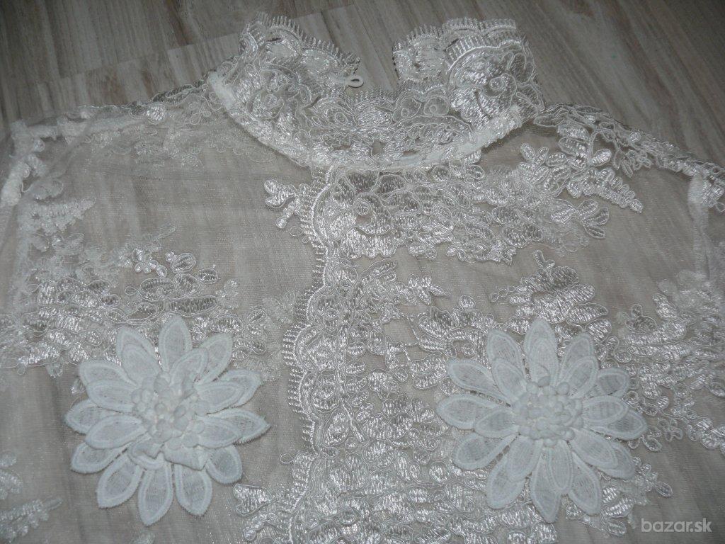 Extravagantné, asymetrické svadobné saty M/L - Obrázok č. 3