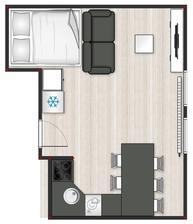 Postel bude vyvýšená a pod ní úložný prostor. Jsou to podkrovní prostory, takže jediné místo, které vyšlo na chladničku, je skoro vedle postele :-D