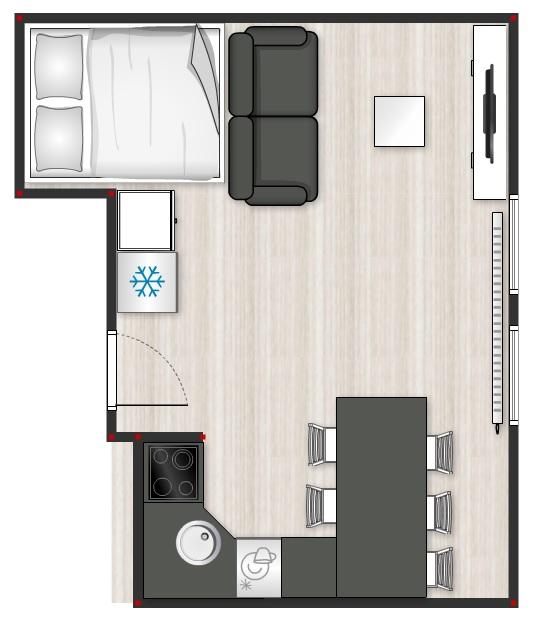 Malinký ale naše - Postel bude vyvýšená a pod ní úložný prostor. Jsou to podkrovní prostory, takže jediné místo, které vyšlo na chladničku, je skoro vedle postele :-D