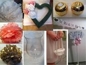 dekorace na svatbu - starořůžová, zlatá a bílá,