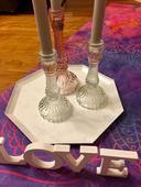 3 ks skleněné svícny na svatbu vč. svíček,