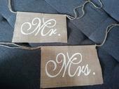 Jutové nápisy Mr a Mrs,
