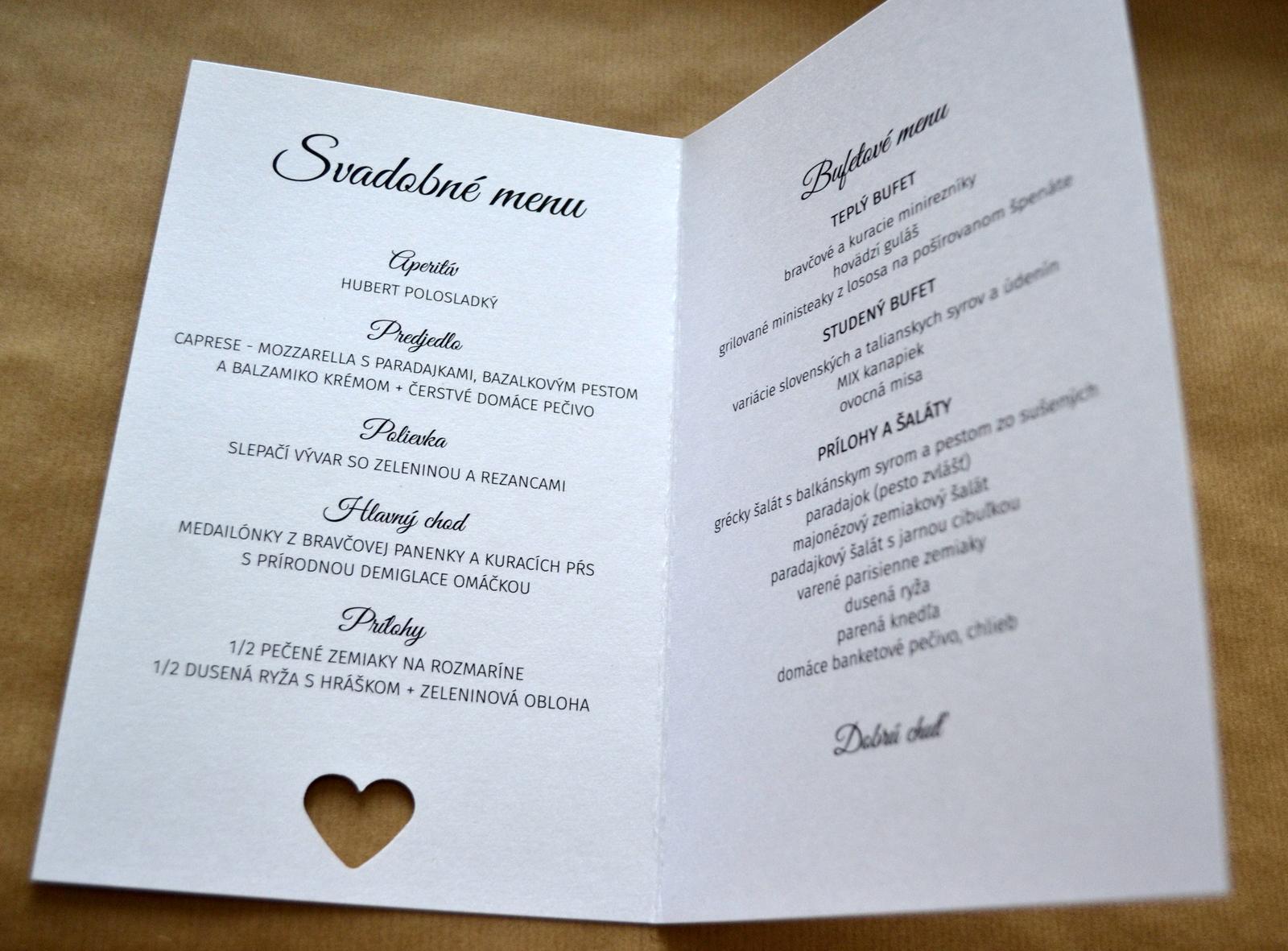 Otváracie svadobné menu z kolekcie Heart - Obrázok č. 2