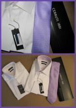 vyštíhlené biele košele  a   fialova kravata