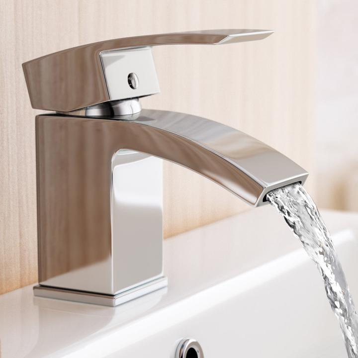 Halie Modern Chrome Bathroom Basin Sink Mixer Brass Waterfall Tap
