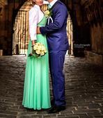 Mentolové svadobné šaty, 38