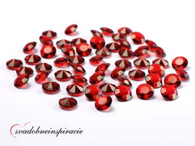 Dekoračné kamienky Diamantíky malé - Červené 100ks - Obrázok č. 1